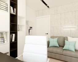 Dom w Zielonce - Małe szare biuro domowe kącik do pracy w pokoju, styl nowoczesny - zdjęcie od Nasciturus design