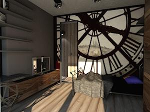 Dom w stylu industrailnym - wizualizacje - Mała brązowa sypialnia, styl industrialny - zdjęcie od Nasciturus design