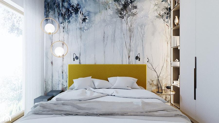 Sypialnia - Mała biała sypialnia małżeńska, styl nowoczesny - zdjęcie od Nasciturus design
