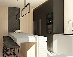 Dom w Zielonce - Mała średnia otwarta kuchnia w kształcie litery l w aneksie z wyspą, styl nowoczesny - zdjęcie od Nasciturus design