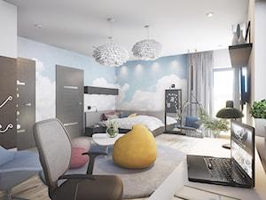 Pokoj Nastolatki - Duży biały niebieski pokój dziecka dla chłopca dla dziewczynki dla ucznia dla nastolatka, styl nowoczesny - zdjęcie od wizjaprzestrzeni.pl