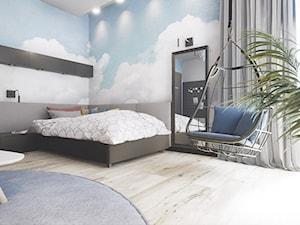 Pokoj Nastolatki - Duży szary pokój dziecka dla chłopca dla dziewczynki dla nastolatka, styl nowoczesny - zdjęcie od wizjaprzestrzeni.pl