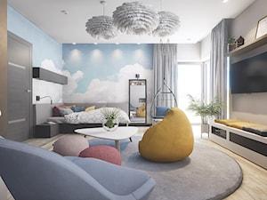 Pokoj Nastolatki - Duży szary niebieski pokój dziecka dla chłopca dla dziewczynki dla ucznia dla nastolatka, styl nowoczesny - zdjęcie od wizjaprzestrzeni.pl