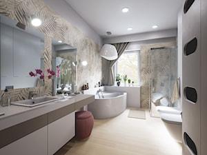Łazienka z motywem liści - Duża biała beżowa brązowa szara łazienka w domu jednorodzinnym z oknem, styl vintage - zdjęcie od wizjaprzestrzeni.pl