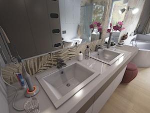 Łazienka z motywem liści - Duża biała szara łazienka w bloku w domu jednorodzinnym z oknem, styl vintage - zdjęcie od wizjaprzestrzeni.pl
