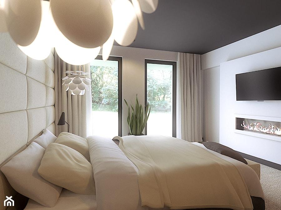 Sypialnia średnia Biała Sypialnia Małżeńska Z Balkonem