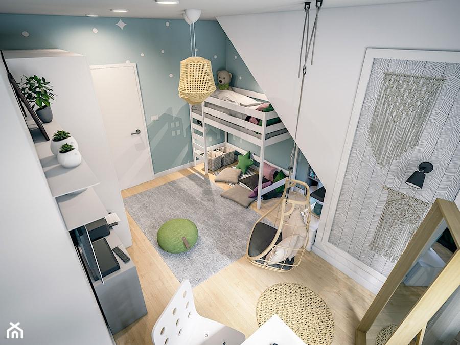Pokoje Dziewczynek - Duży biały niebieski pokój dziecka dla chłopca dla dziewczynki dla ucznia dla malucha dla nastolatka - zdjęcie od wizjaprzestrzeni.pl