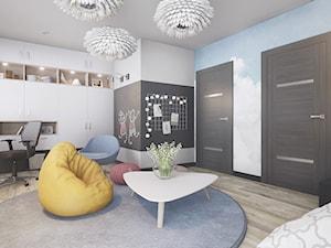 Pokoj Nastolatki - Duży szary czarny pokój dziecka dla chłopca dla dziewczynki dla ucznia dla nastolatka, styl nowoczesny - zdjęcie od wizjaprzestrzeni.pl