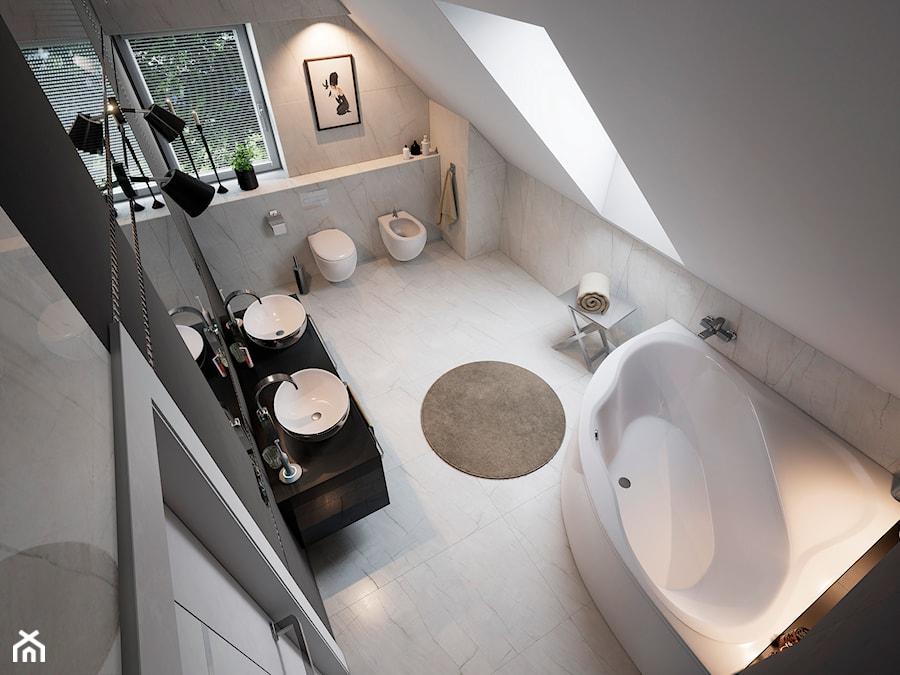 Łazienka+WC Glamour - Średnia biała szara łazienka na poddaszu w domu jednorodzinnym z oknem, styl glamour - zdjęcie od wizjaprzestrzeni.pl