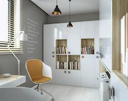 Pracownia w stylu skandynawskim - Średnie szare biuro domowe w pokoju, styl skandynawski - zdjęcie od wizjaprzestrzeni.pl