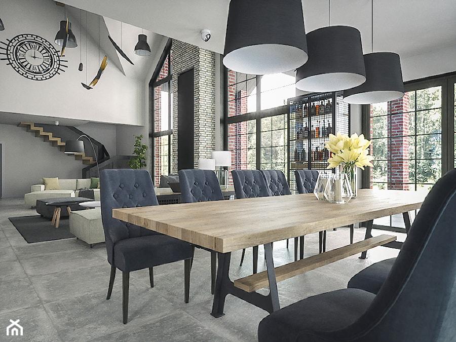 Wnetrze Industrialne - Duża otwarta biała szara jadalnia w salonie, styl industrialny - zdjęcie od wizjaprzestrzeni.pl