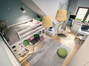 Pokoje Dziewczynek - Duży biały szary pokój dziecka dla chłopca dla ucznia dla nastolatka - zdjęcie od wizjaprzestrzeni.pl
