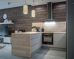 Kuchnia w dwóch odsłonach - Mała otwarta kuchnia w kształcie litery u w aneksie, styl skandynawski - zdjęcie od wizjaprzestrzeni.pl