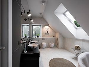 Łazienka+WC Glamour - Duża biała czarna szara łazienka na poddaszu w domu jednorodzinnym z oknem, styl glamour - zdjęcie od wizjaprzestrzeni.pl
