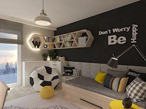 Mieszkanie dla Młodego Piłkarza - Średni szary czarny pokój dziecka dla chłopca dla ucznia dla malucha dla nastolatka, styl nowoczesny - zdjęcie od LIVING BOX