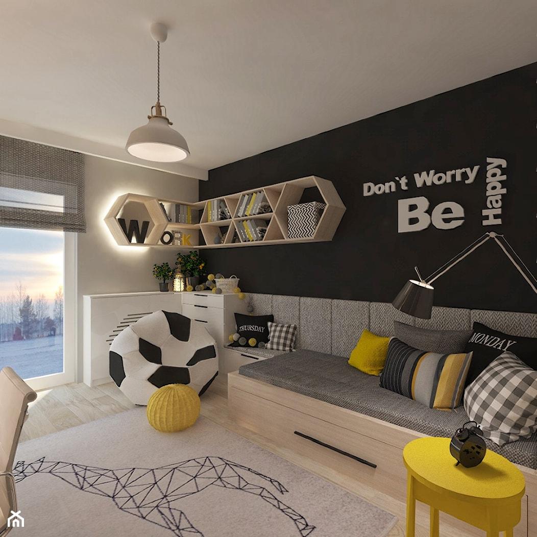 Mieszkanie dla Młodego Piłkarza - Średni szary czarny pokój dziecka dla chłopca dla ucznia dla maluc ... - zdjęcie od LIVING BOX - Homebook