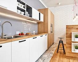 59 m2 na nowo - Średnia otwarta kuchnia jednorzędowa w aneksie z wyspą, styl skandynawski - zdjęcie od LIVING BOX