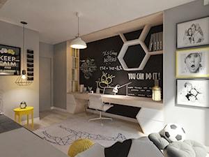 Mieszkanie dla Młodego Piłkarza - Duży szary pokój dziecka dla chłopca dla ucznia dla nastolatka, styl nowoczesny - zdjęcie od LIVING BOX