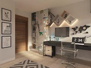 Pokoik dla chłopca - Średni biały beżowy pokój dziecka dla chłopca dla ucznia dla nastolatka, styl nowoczesny - zdjęcie od LIVING BOX