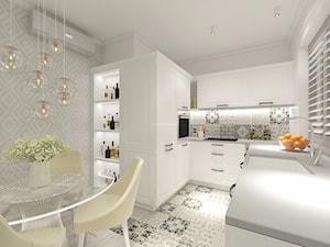Z nutą turkusu - Średnia otwarta biała szara kolorowa kuchnia w kształcie litery u, styl nowoczesny - zdjęcie od LIVING BOX