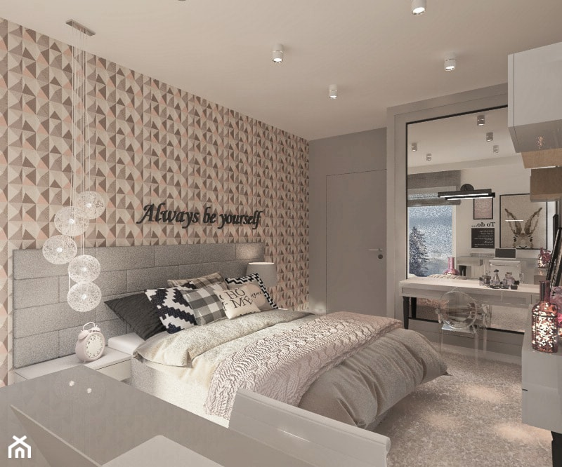 Mieszkanie dla Młodego Piłkarza - Duża kolorowa sypialnia małżeńska, styl nowoczesny - zdjęcie od LIVING BOX