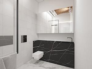 W przedwojennej kamienicy - Średnia biała czarna łazienka na poddaszu w bloku w domu jednorodzinnym bez okna, styl eklektyczny - zdjęcie od LIVING BOX