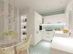 Z nutą turkusu - Średnia otwarta biała szara kolorowa kuchnia w kształcie litery u w aneksie, styl klasyczny - zdjęcie od LIVING BOX