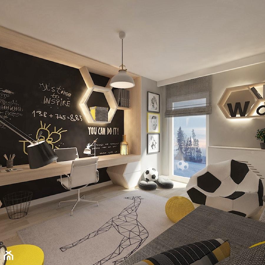 Mieszkanie dla Młodego Piłkarza - Średni szary pokój dziecka dla chłopca dla dziewczynki dla ucznia dla malucha dla nastolatka, styl nowoczesny - zdjęcie od LIVING BOX