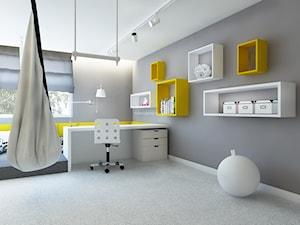 Dom z kominkiem w roli głównej - Średni szary pokój dziecka dla chłopca dla nastolatka, styl nowoczesny - zdjęcie od LIVING BOX