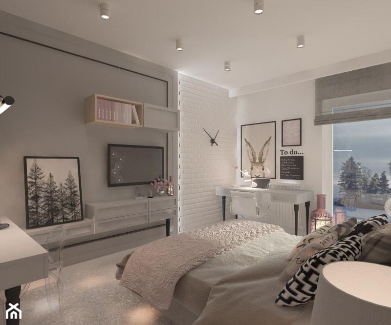 Mieszkanie dla Młodego Piłkarza - Duża biała szara sypialnia małżeńska, styl nowoczesny - zdjęcie od LIVING BOX