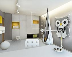 Dom z kominkiem w roli głównej - Średni biały szary pokój dziecka dla chłopca dla dziewczynki dla ucznia dla nastolatka, styl nowoczesny - zdjęcie od LIVING BOX