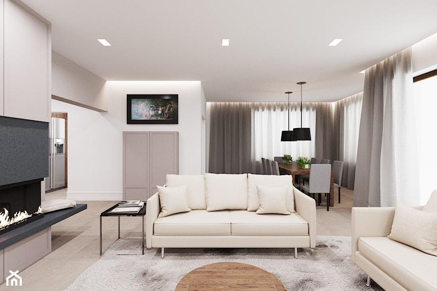 Dom udomowiony - Średni biały salon z jadalnią, styl tradycyjny - zdjęcie od LIVING BOX