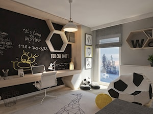Pokój dla juniora - Średni szary czarny pokój dziecka dla chłopca dla ucznia dla malucha dla nastolatka, styl nowoczesny - zdjęcie od LIVING BOX