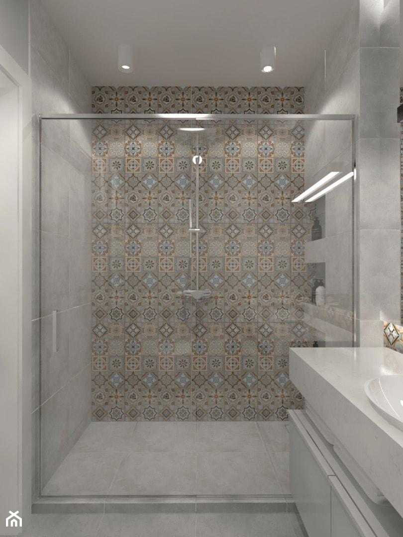 Monochromatyczna Aranżacja Wnętrza W Kolorze Szarym Mała łazienka