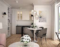 Wakacyjne w Gdyni - Mała otwarta biała jadalnia w kuchni w salonie, styl klasyczny - zdjęcie od LIVING BOX - Homebook