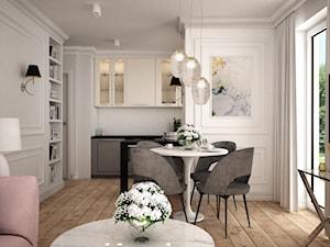 Wakacyjne w Gdyni - Mała otwarta biała jadalnia w kuchni w salonie, styl klasyczny - zdjęcie od LIVING BOX