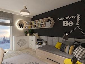 Mieszkanie dla Młodego Piłkarza - Duży szary czarny pokój dziecka dla chłopca dla dziewczynki dla ucznia dla nastolatka, styl nowoczesny - zdjęcie od LIVING BOX