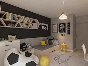 Mieszkanie dla Młodego Piłkarza - Średni szary czarny pokój dziecka dla chłopca dla dziewczynki dla ucznia dla malucha dla nastolatka, styl nowoczesny - zdjęcie od LIVING BOX