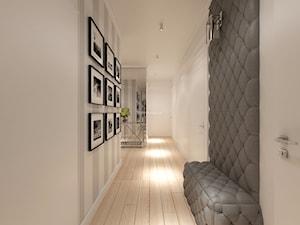 Z nutą turkusu - Średni biały szary hol / przedpokój, styl klasyczny - zdjęcie od LIVING BOX