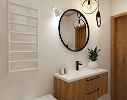 Dla Singielki - Średnia biała łazienka w bloku w domu jednorodzinnym bez okna, styl nowoczesny - zdjęcie od LIVING BOX - Homebook