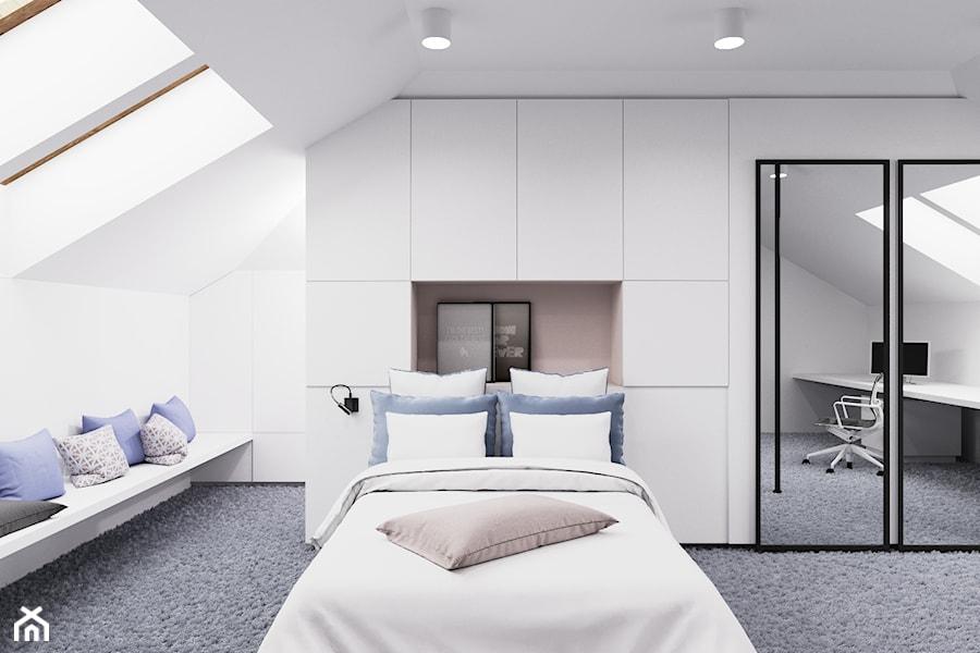 Dom udomowiony - Duża biała sypialnia małżeńska na poddaszu, styl nowoczesny - zdjęcie od LIVING BOX