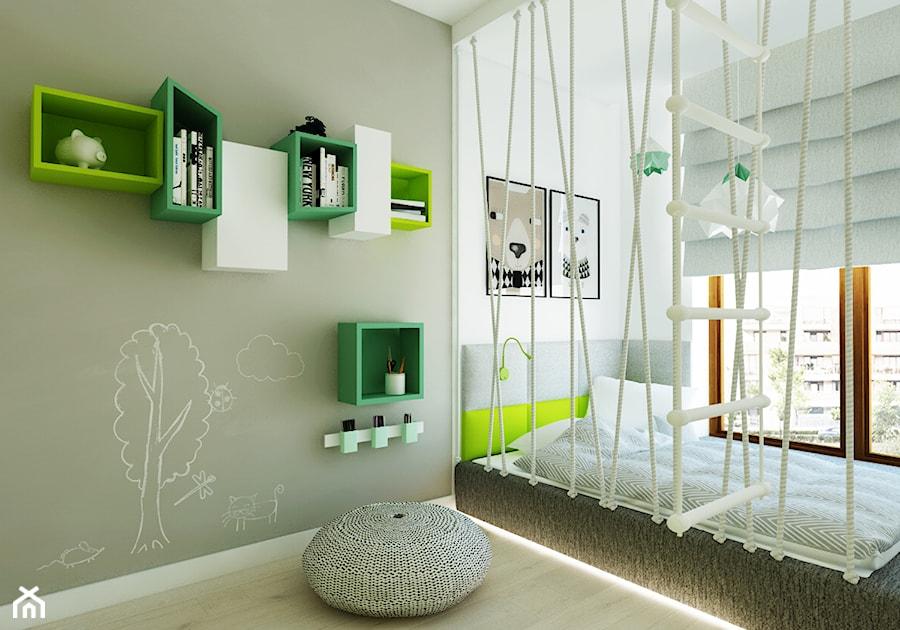 Pokój dziecięcy z liskiem - Mały biały szary pokój dziecka dla chłopca dla dziewczynki dla malucha dla nastolatka, styl nowoczesny - zdjęcie od LIVING BOX
