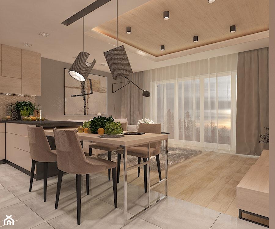 Mieszkanie dla Młodego Piłkarza - Średnia otwarta beżowa jadalnia w kuchni, styl nowoczesny - zdjęcie od LIVING BOX