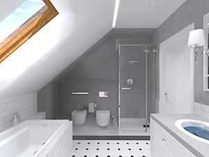Luksusowy dom w Katowicach - Średnia biała szara łazienka na poddaszu w domu jednorodzinnym z oknem, styl vintage - zdjęcie od Urbanowicz Studio Architektury