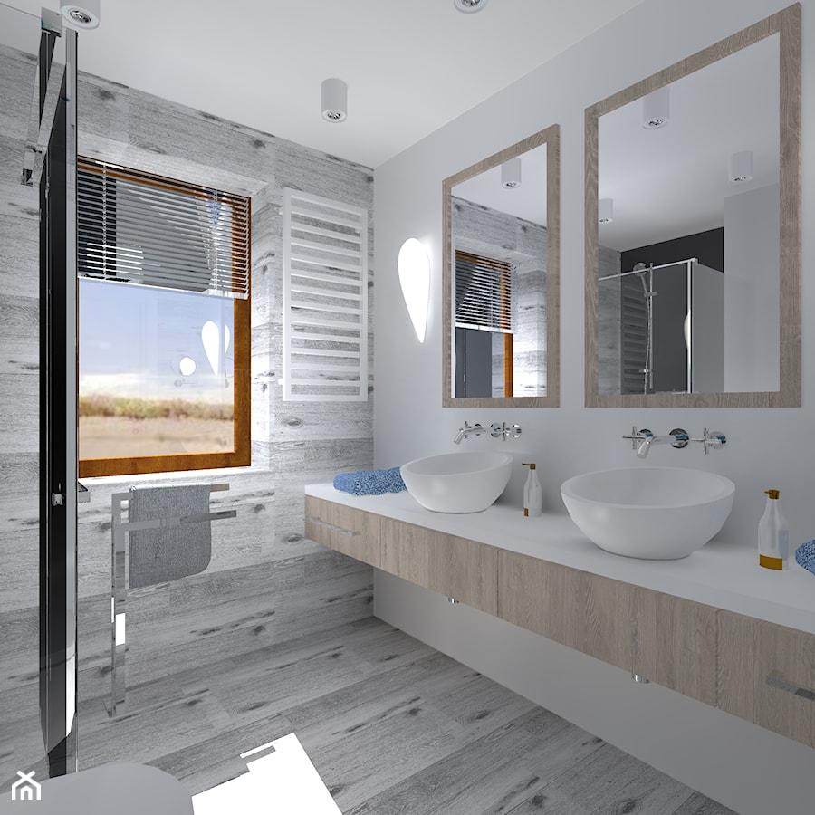 Urbanowicz 07 Dom w Sosnowcu - Mała biała szara łazienka na poddaszu w bloku w domu jednorodzinnym z oknem, styl nowoczesny - zdjęcie od Urbanowicz Studio Architektury