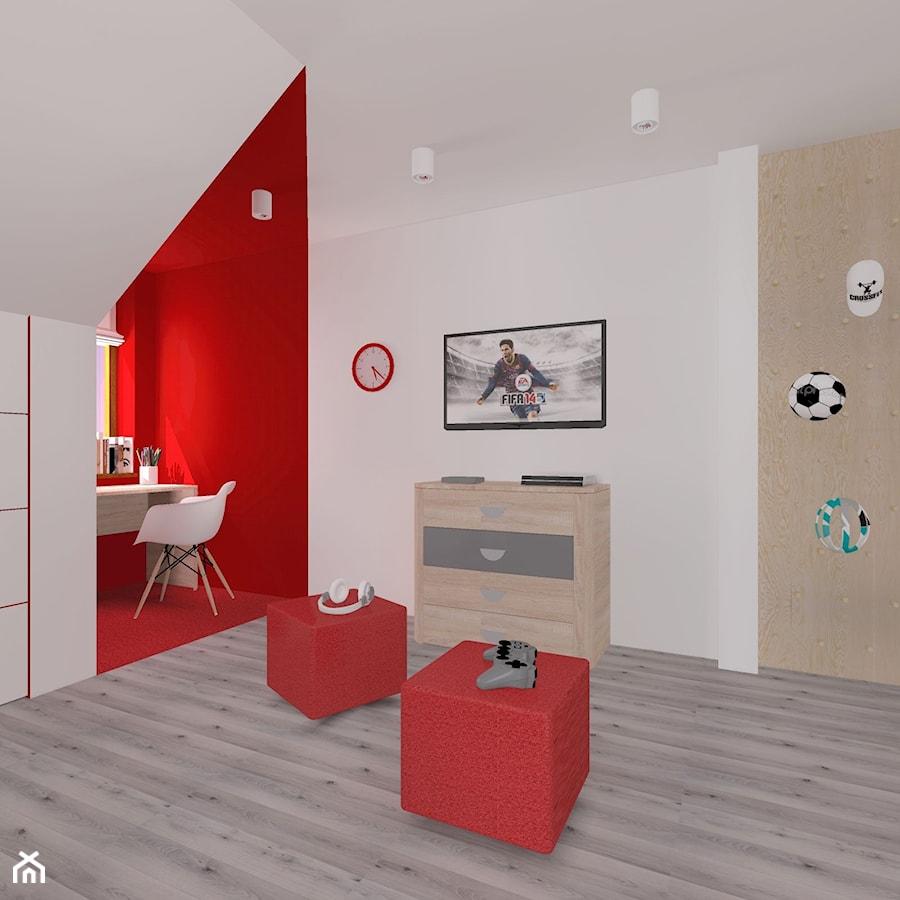 Urbanowicz 07 Dom w Sosnowcu - Średni biały czerwony pokój dziecka dla chłopca dla dziewczynki dla ucznia dla malucha dla nastolatka, styl nowoczesny - zdjęcie od Urbanowicz Studio Architektury