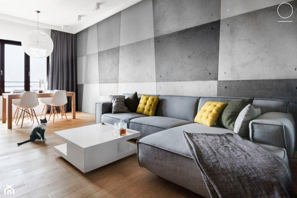 Apartament na Muranowie - Duży biały salon z jadalnią, styl nowoczesny - zdjęcie od oikoi - Homebook
