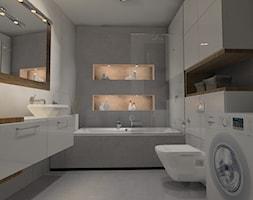 Łazienka beton z drewnem - Średnia łazienka w bloku bez okna, styl nowoczesny - zdjęcie od Anna Jędrzejuk