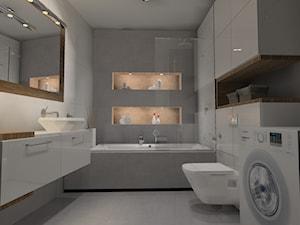 Łazienka beton z drewnem - Średnia biała łazienka w bloku bez okna, styl nowoczesny - zdjęcie od Anna Jędrzejuk