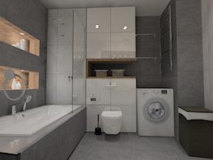 Łazienka beton z drewnem - Średnia szara łazienka w bloku w domu jednorodzinnym bez okna, styl nowoczesny - zdjęcie od Anna Jędrzejuk